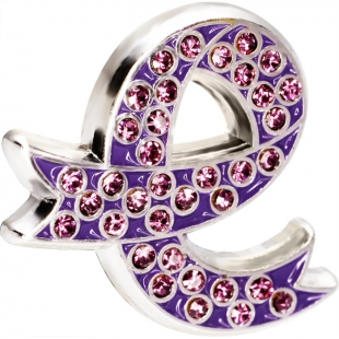 Purple Day Diamonte Badge